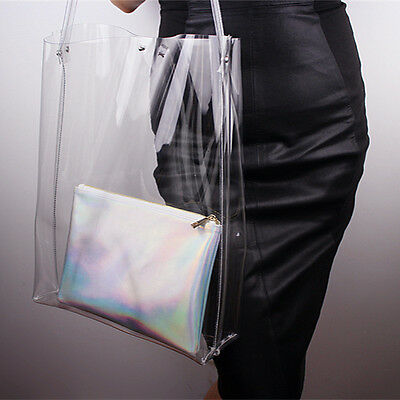 Clear Vinyl Plastic Shoulder Bag Oversized Extra Large Tote Shopper Handle PVC