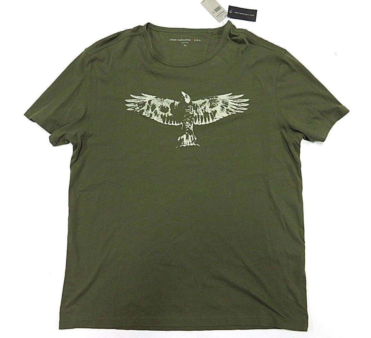 NWT John Varvatos Olive Short Sleeve Graphic Shirt Men's Size XL 100% Cotton