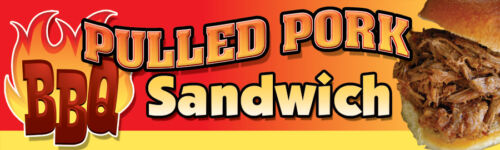 "Pulled Pork Sandwich 18/""x60/"" Concession Banner"