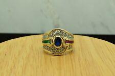 14K YELLOW GOLD SAPPHIRE RUBY EMERALD & DIAMOND RING BAND SIZE 6.5  #X14-1575