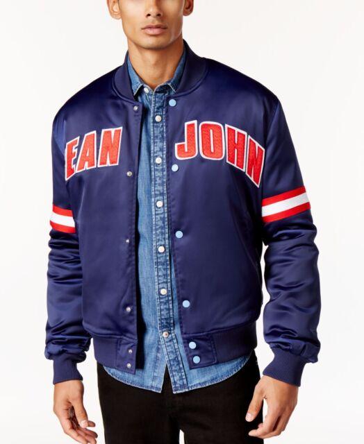 1a362db49 $220 SEAN JOHN Men's BLUE RED LOGO BASEBALL BOMBER VARSITY JACKET COAT SIZE  3XL