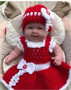 9dade11fc5a Image is loading Handmade-Crochet-Baby-Dress-And-Hat-Baby-Girl-