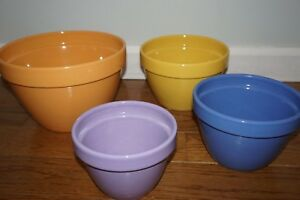 TRE CI Earthenware Set of 4 Colorful Nesting Bowls Made in Italy ...