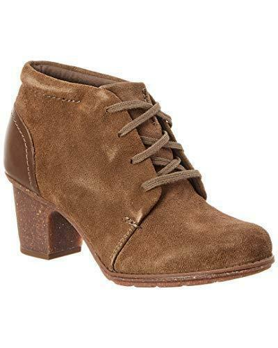 Clarks Leather Lace up Ankle Boots Sashlin Sue Womens Booties Olive Size 8.5 New