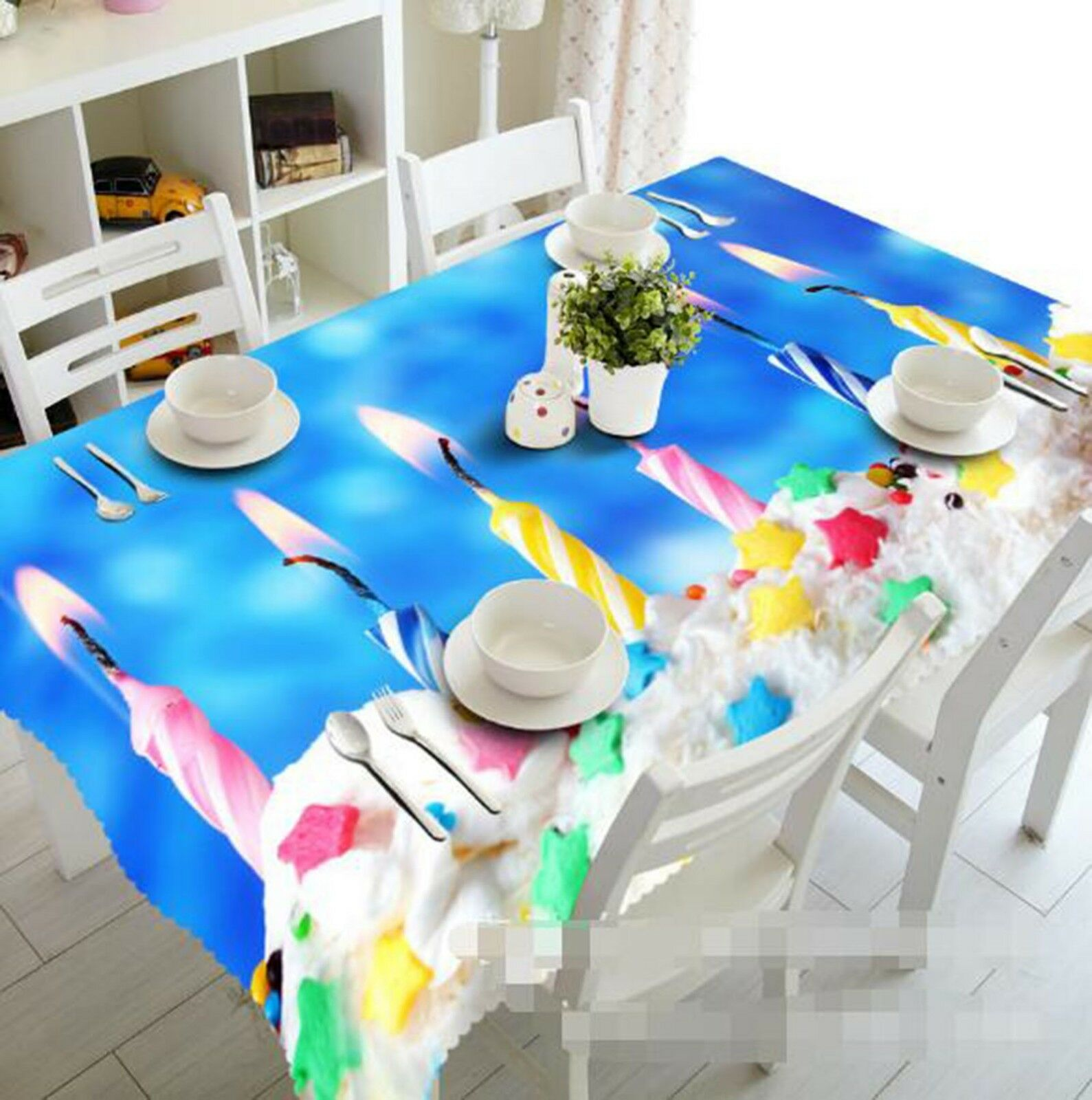 3D Couleur Candle 025 Tablecloth Table Cover Cloth Birthday Party Event AJ Lemon