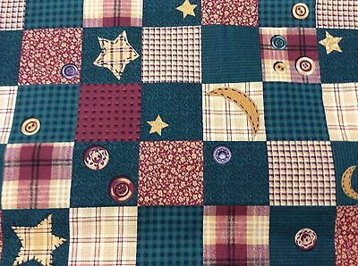 GREEN, BROWN & BURGUNDY BLOCKS WITH BUTTONS-COTTON-   BY THE YARD