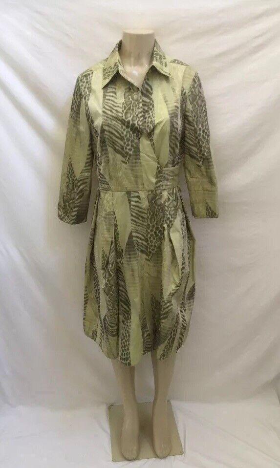 Carlisle Women's Size 10 Green Animal Print Long Sleeve Faux Wrap Shirt Dress
