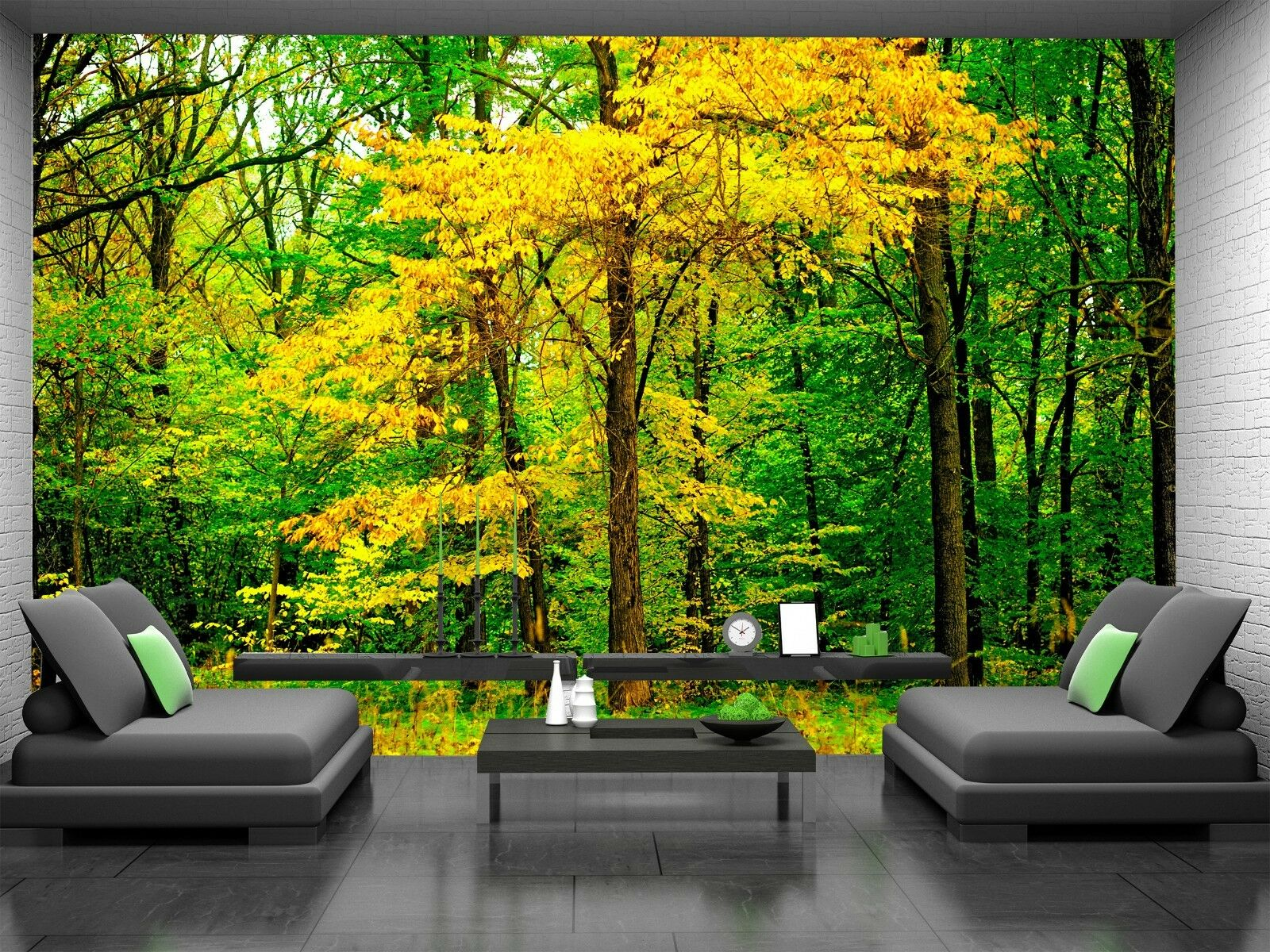 Leaves in the Forest  Photo Wallpaper Wall Mural DECOR Paper Poster Free Paste