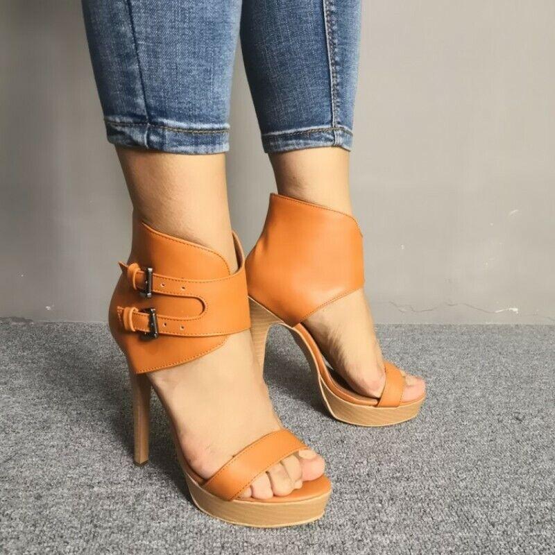Super High Heel Damenschuhe Open Toe Stiletto Platform Pumps Sandalen Fashion