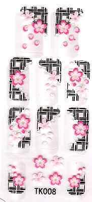 NAGEL STICKER Nail Art Tattoo 3D selbstklebend Blume Aufkleber Nagelsticker N125