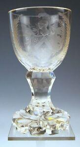 BIEDERMEIER-POKAL-GLAS-ZUR-VERMAHLUNG-CUP-GOBLET-BOHMEN-BOHEMIA-UM-1850