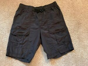 Roundtree-amp-Yorke-Swimwear-Mens-Black-Cargo-Swim-Trunks-Shorts-M