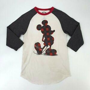 Disney-Ringer-Camiseta-para-mujer-Talla-M-Manga-Raglan-3-4-cuadros-Mickey-Mouse