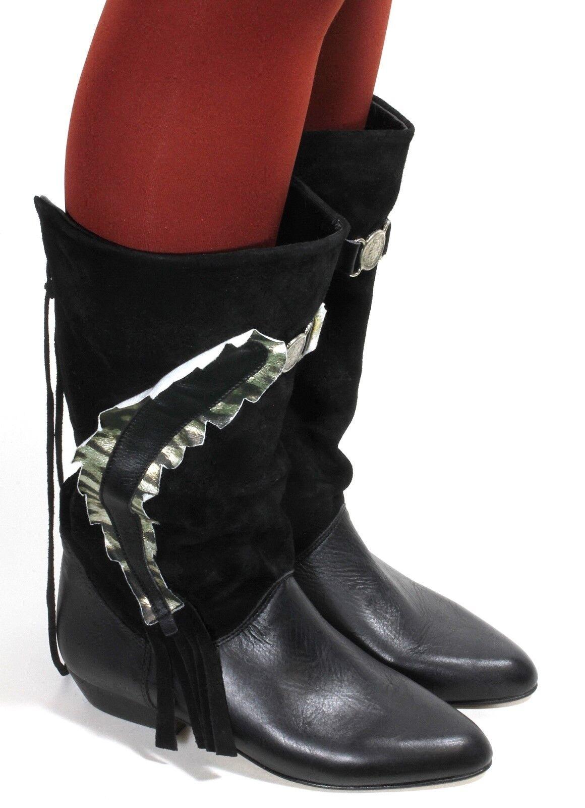 Leder Vintage Stiefel Damenstiefel Blogger Hipster Westernstiefel Franse 38-38,5