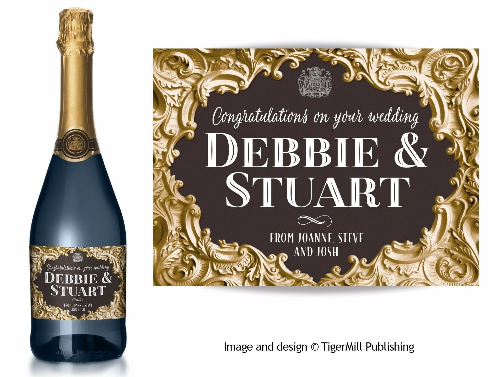 PERSONALISED Gold Champagne label Birthday Anniversary Wedding Engagement Hen