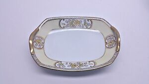 Nippon-Floral-Motif-Gilt-Pale-Yellow-Small-Handled-Dish