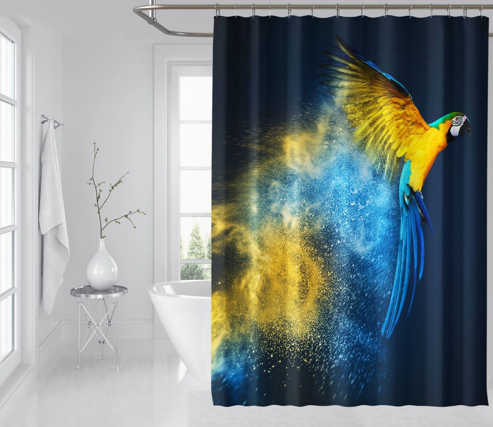 3D Parrot Painting 8 Shower Shower Shower Curtain Waterproof Fiber Bathroom Windows Toilet d673a0