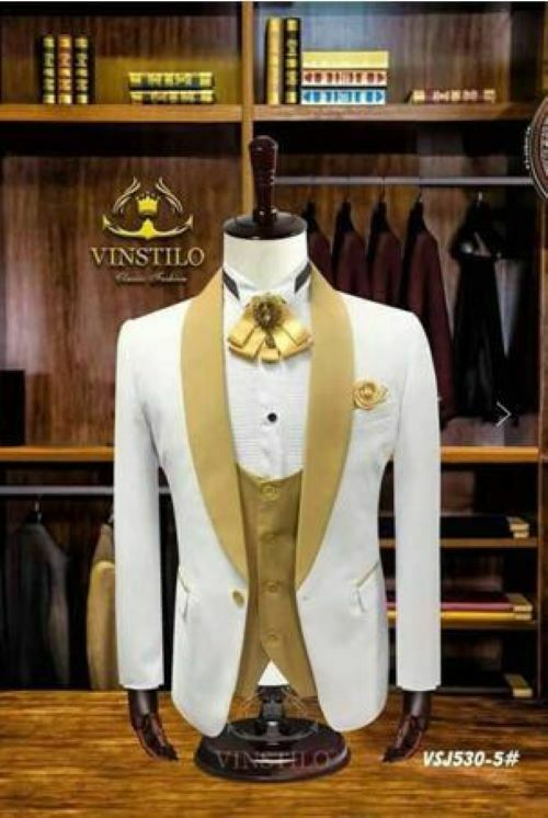 Mens 3 Piece White Suit With gold Lapel Suit Groom Tuxedos Formal Wedding Suit