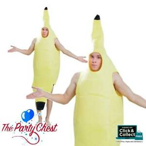 Adult Banana Fruit Fancy Dress Costume Outfit Food Fun Hen Stag Do Mens Womens