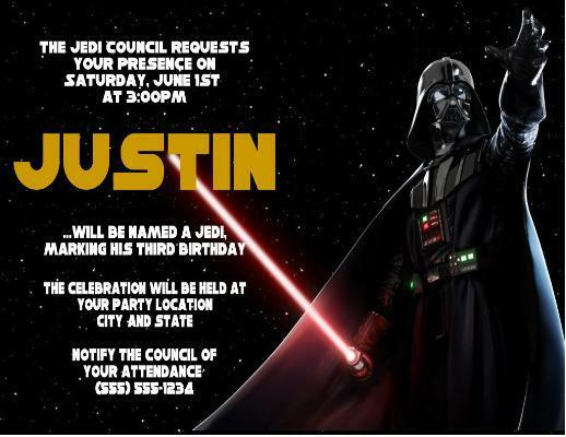 star wars darth vader birthday party invitations custom personalized