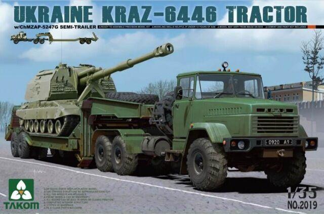Semi-remorque porte-char kraz-6446 - kit takom internationale 1   35 n ° 2019