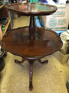 Image Is Loading Antique Vintage Round Mersman Mahogany Wood 2 Tier