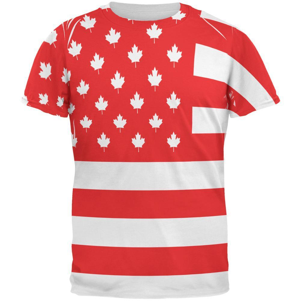 4th of July Canadian American Flag All Over Mens T Shirt