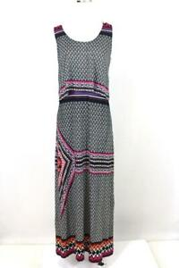 womens-black-white-geometric-CHELSEA-amp-THEODORE-maxi-tiered-dress-long-knit-L
