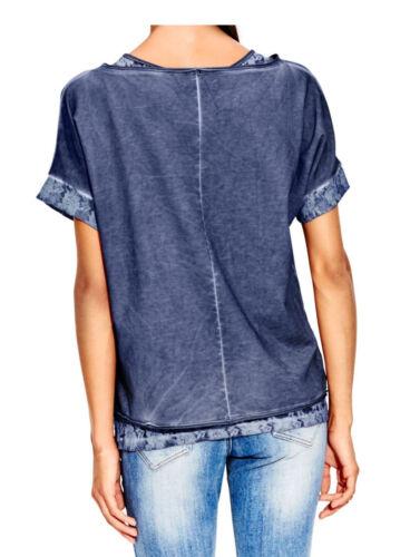 heine 2-in-1-Shirt+Spitzentop mit Schriftzug B.C NEU!! blau KP 39,90 € SALE/%