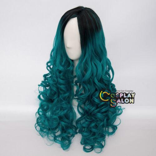 Cap Lang 60CM Curly Türkis Grün gemischt schwarze Lolita Anime Cosplay Perücke