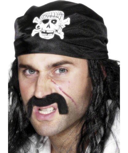 Pirate Bandanna Black Skull Crossbones Adult Fancy Dress Costume Accessory
