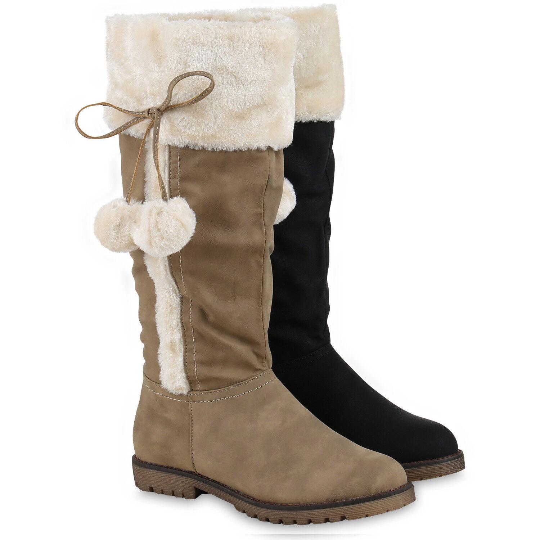 Warm Gefütterte Winterstiefel Damen Kunstfell Schleifen Stiefel 814047 Schuhe