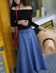 Fashion-Women-Button-A-line-High-Waist-Long-Flared-Party-Skater-Slim-Denim-Skirt