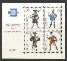 Switzerland 1974 UPU 100th/Uniforms/Messengers/StampEx/Post/Mail 4v m/s (n20775)