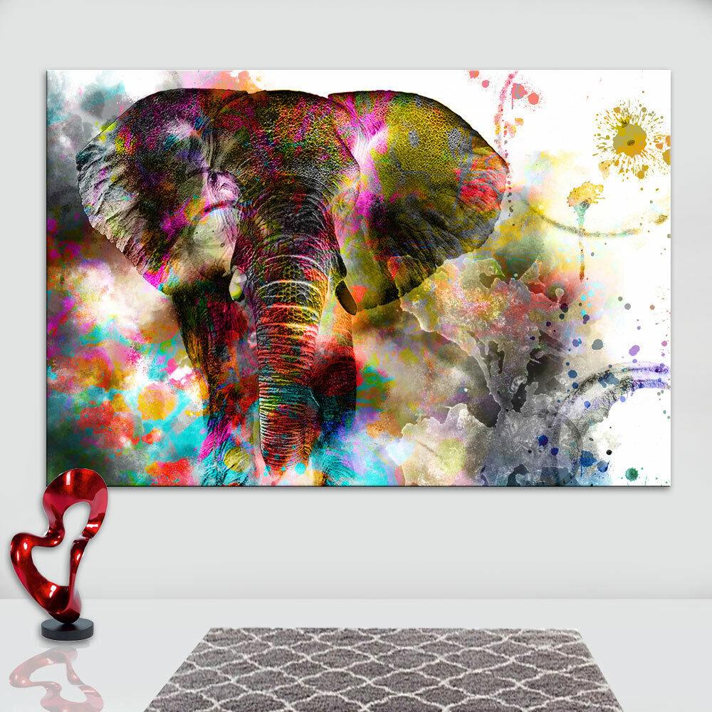 Wandbilder Elefant Tiere Bunt Bild Leinwand Abstrakte Bilder Kunstdruck D1539