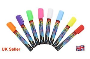 8 Pack Popart Neon Fluorescent Liquid Chalk Marker Pens Blackboard Glass