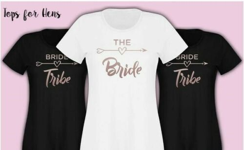 Rose Gold Hen Party Bride Tribe Ladies Personalised T Shirt Packages /& Free Gift