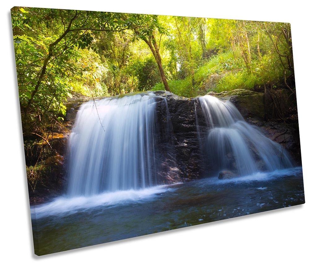 Immagine di cascata Tropicale verde Tela Singola Wall Art Print