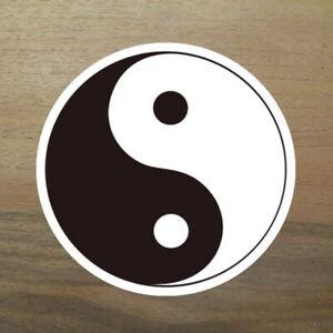 2x-Yin-und-Yang-Aufkleber-Sticker-schwarz-weiss-Innere-Ruhe-China-Symbol-rund