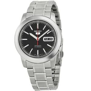 Seiko-5-SNKE53-K1-Silver-with-Black-Dial-Stainless-Steel-Men-039-s-Automatic-Watch
