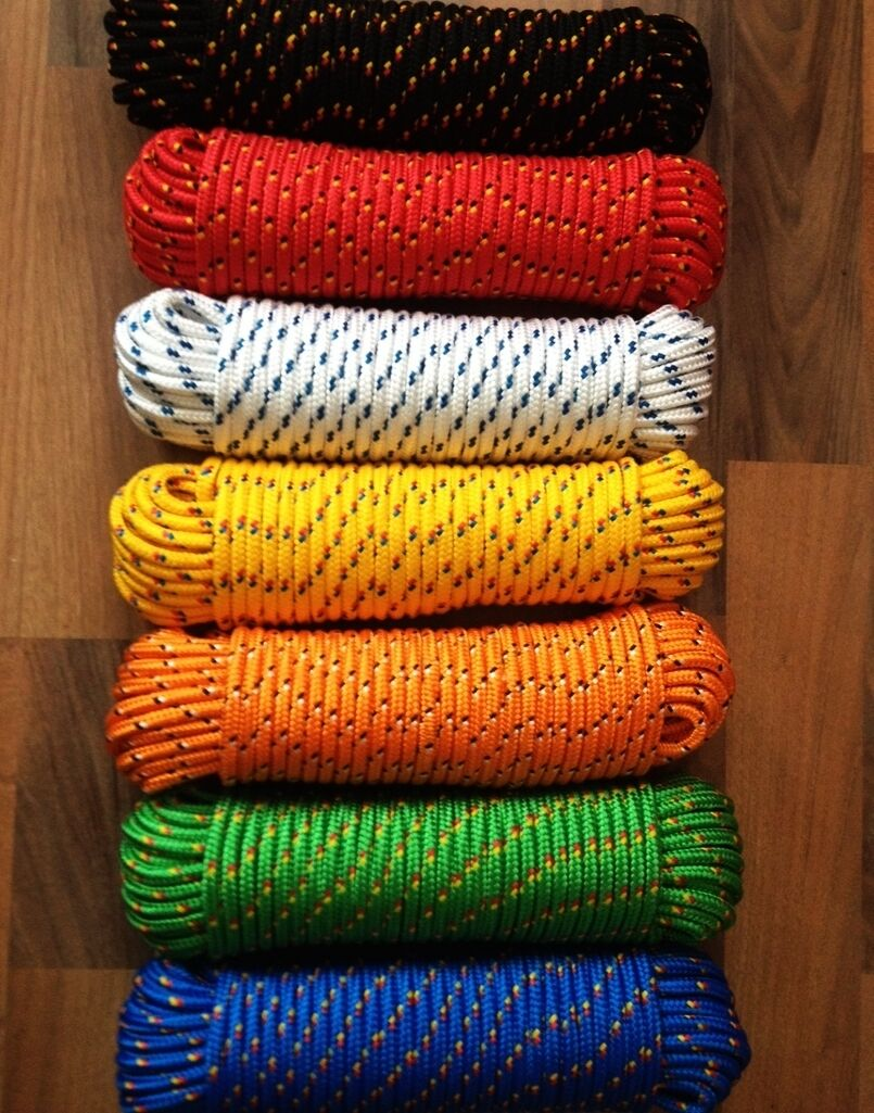 Boat rope,Accessory cord,Cordage,Braided cord 4-16 mm,30m,Work cable,