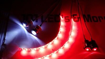 RC 10mm LED 2W2R2R Headlights Tail Lights Red underbody Strips PNP RX 3.7-9V