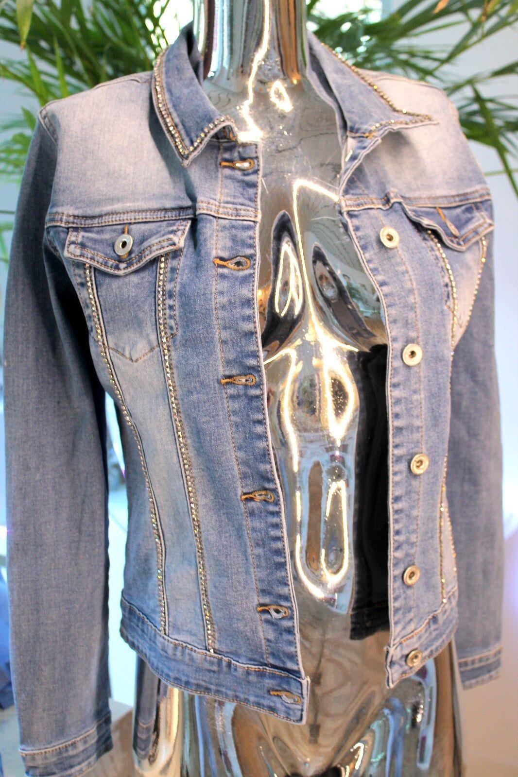 Vaqueros señora chaqueta corta  chaqueta Stretch azul washed brillo pedrería azul S-XXL  disfrutando de sus compras