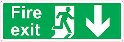 FIRE EXIT  DOWN  STICKER SIGN  Health and Safety Direction 300x100mm