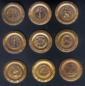 SET-of-9-ISRAEL-BRONZE-45-MM-MEDALS-FEATURING-ANCIENT-JUDEAN-COINS-with-SITE-UNC