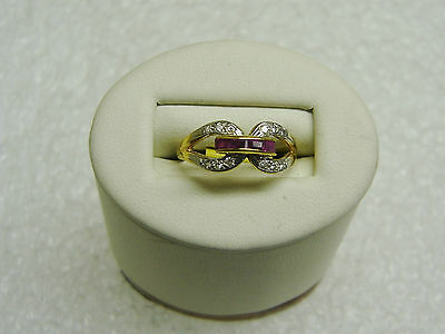 Gorgeous 1k Yellow Gold 4 Ruby And 12 Diamond Ring Size 6