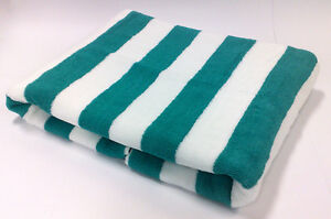 GREEN-STRIPED-STRIPE-POOL-BEACH-TOWEL-100-COTTON-75X150cm-LARGE-NEW-TOWELS