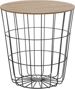 Design Beistelltisch Metall Korb Holz Deckel Tisch Couchtisch