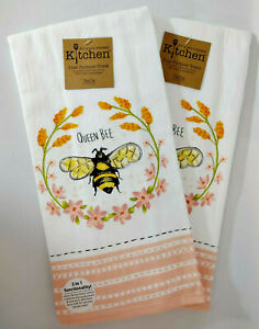 4 X BUMBLE BEES DAISIES FLOWERS YELLOW BEIGE 100/% COTTON KITCHEN TEA TOWEL