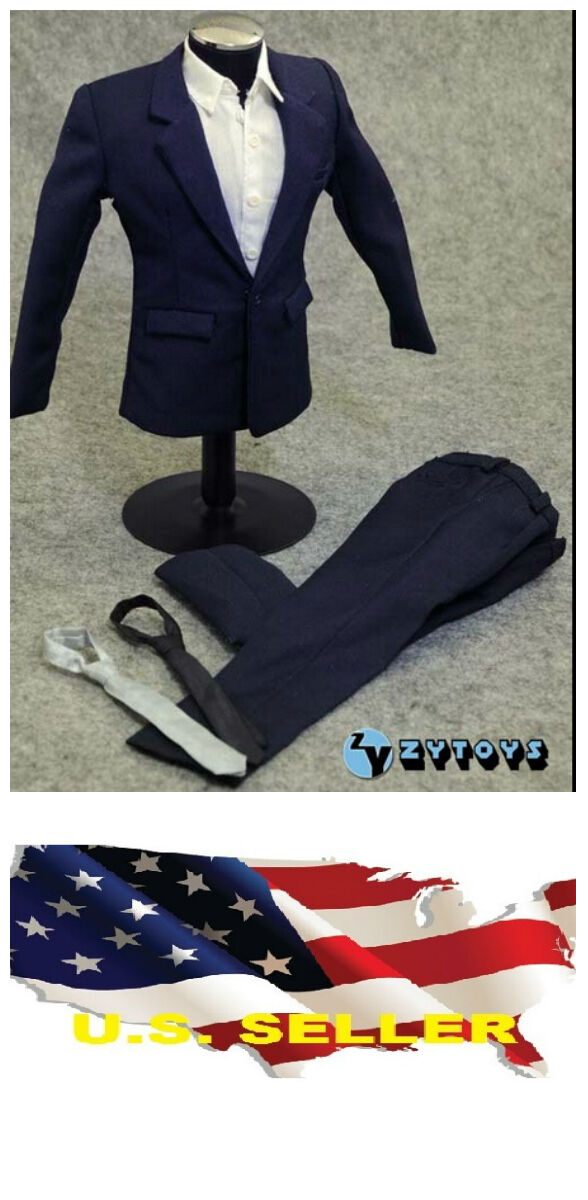 ❶❶1 6 clothes for 12  Male Figure Figure Figure dark bluee color Suit Full Set SHIP FROM U.S.❶❶ c0413f
